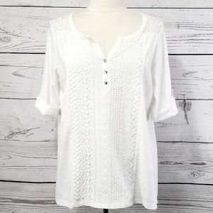 Isela White Cuffed Sleeve Partial Button Lace Top
